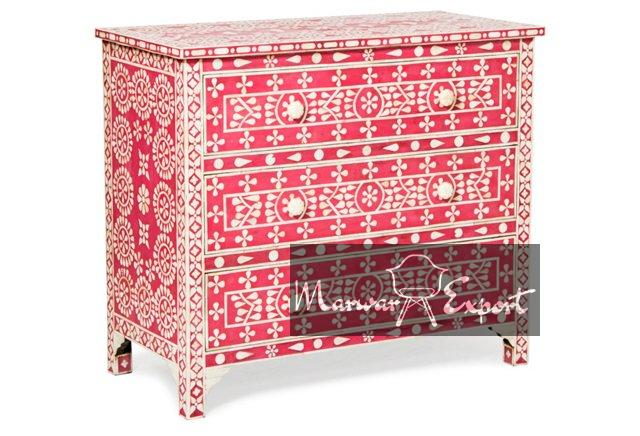 Bone Inlay Chest of Drawer in Red