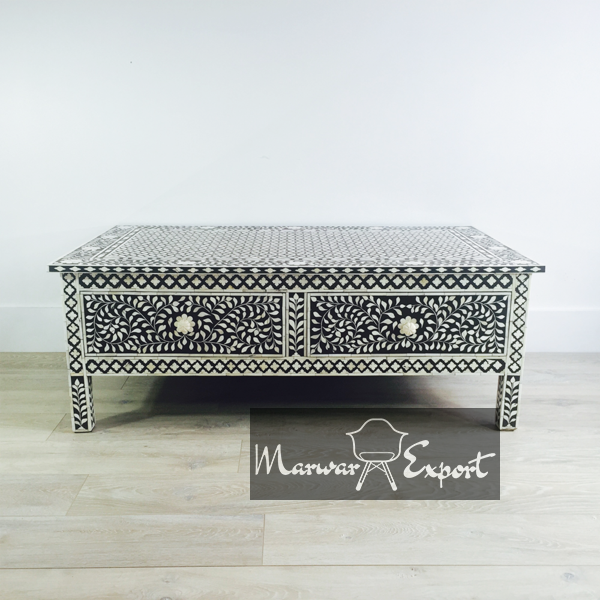 Bone Inlay Coffee Table in Black