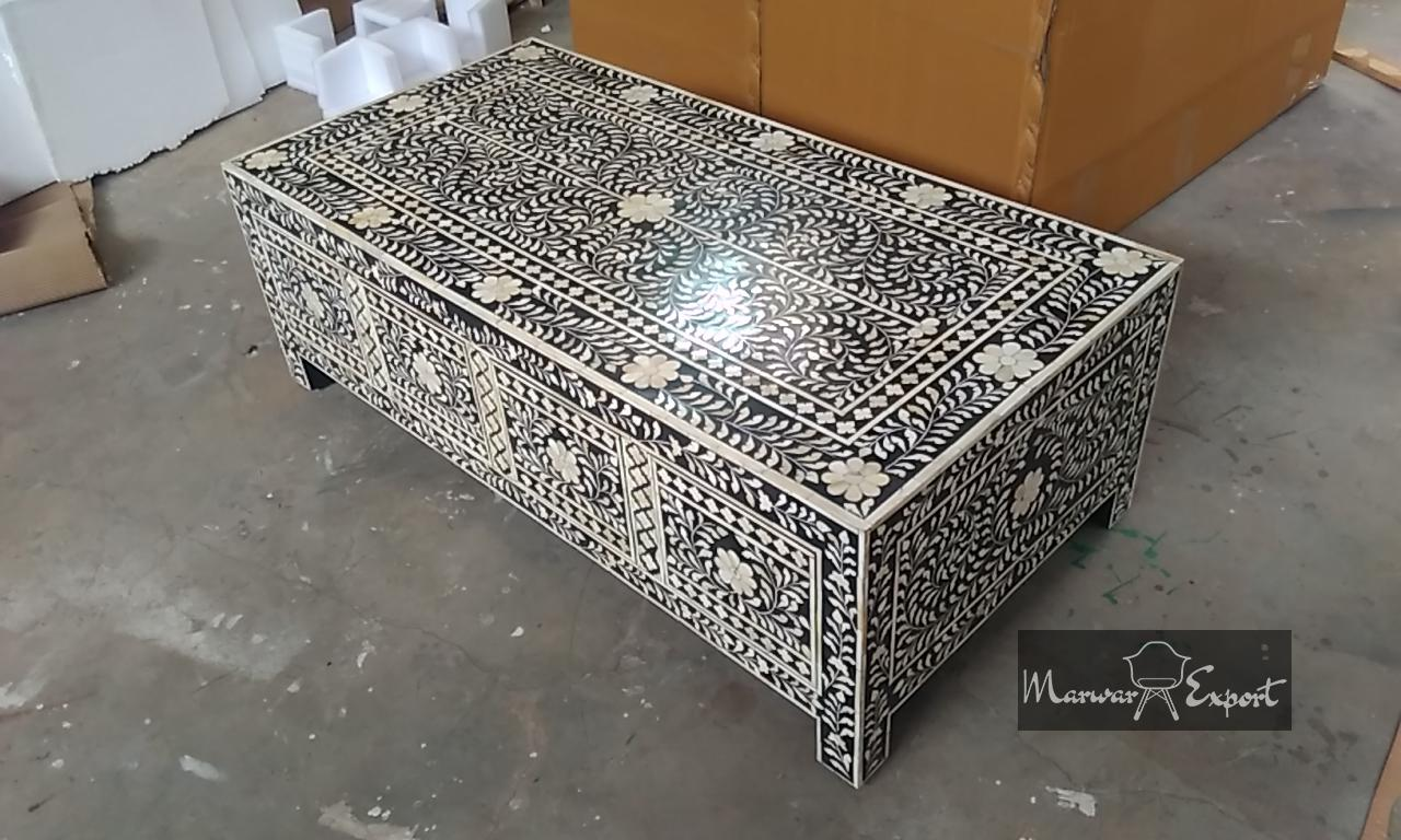Bone Inlay 8 Drawer Coffee Table in Black