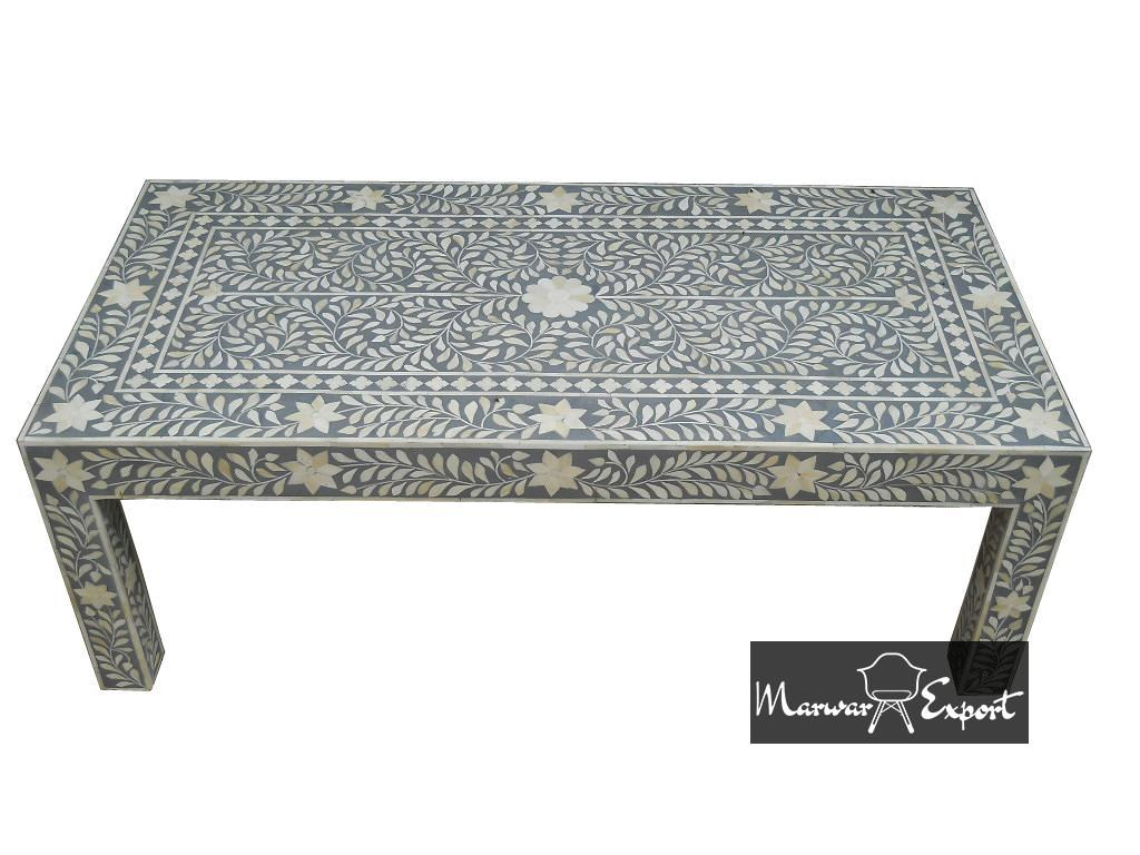 Bone Inlay Coffee Table in Grey