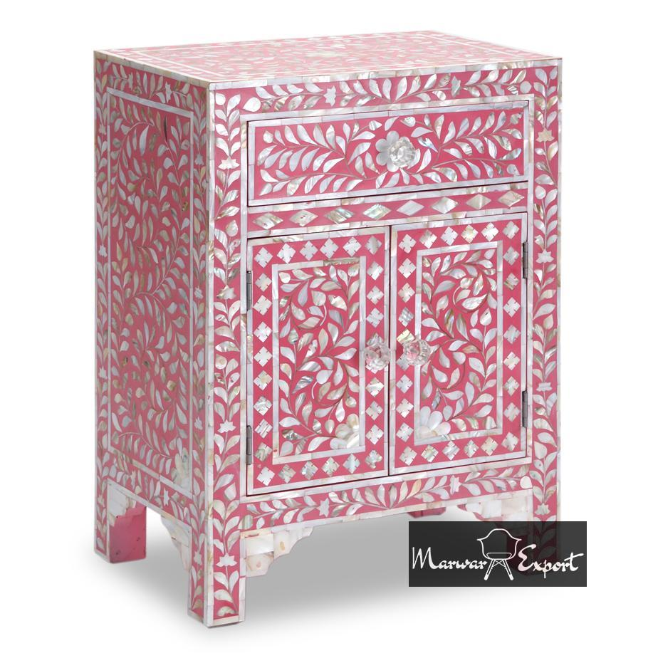 Mother of Pearl Inlay Bedside Cabinet in Pink