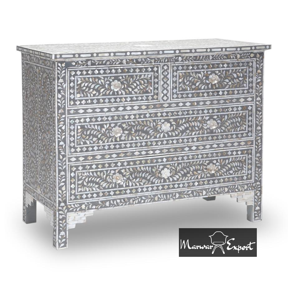 Mother of Pearl Inlay Chest of 4 Drawer in Grey