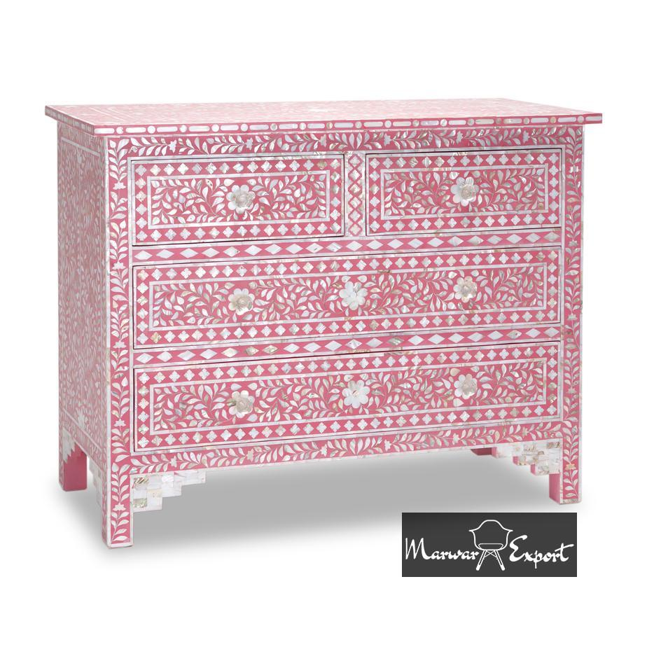 Mother of Pearl Inlay Chest of 4 Drawer In Pink