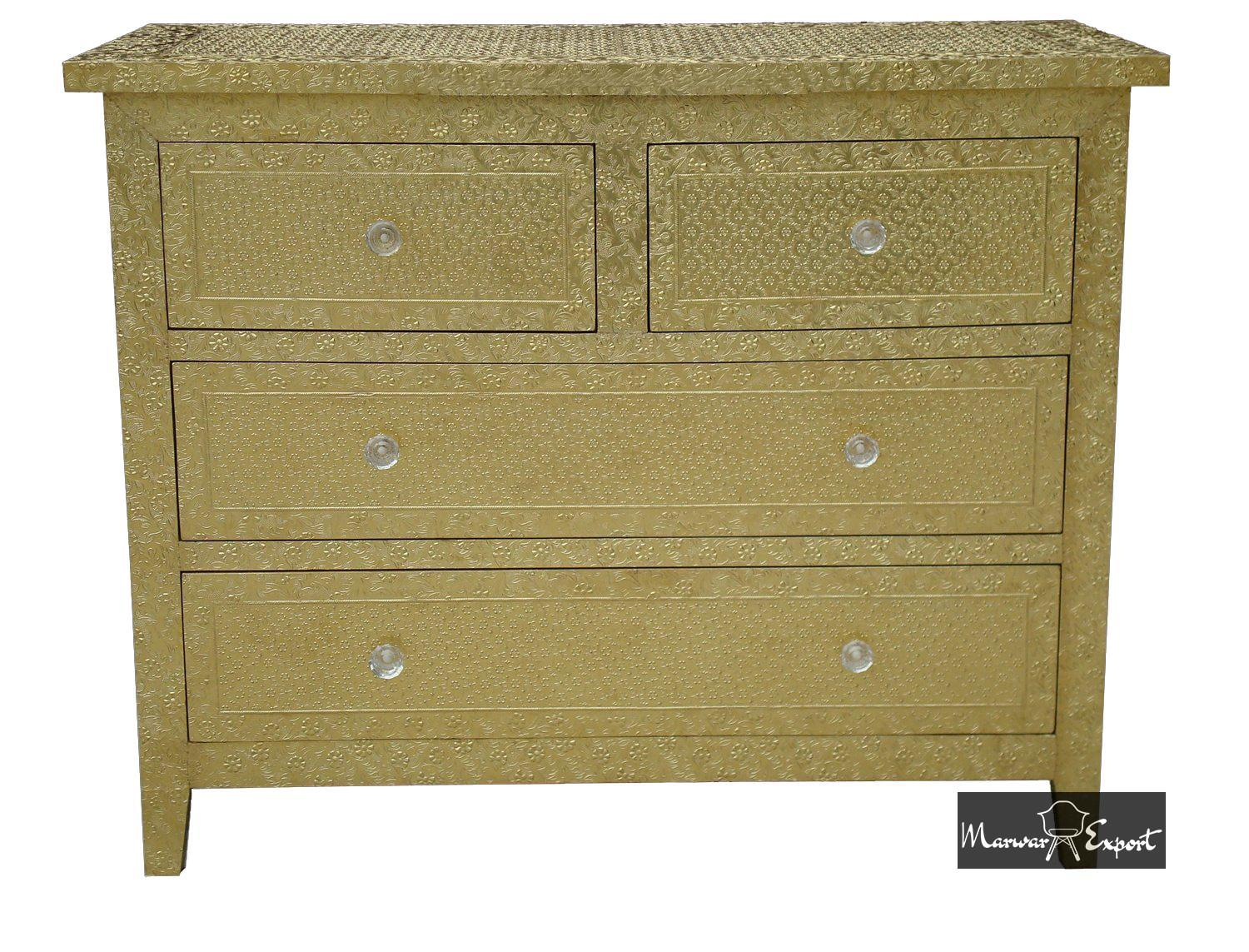 Gold Brass Embossed Metal Chest of Drawer