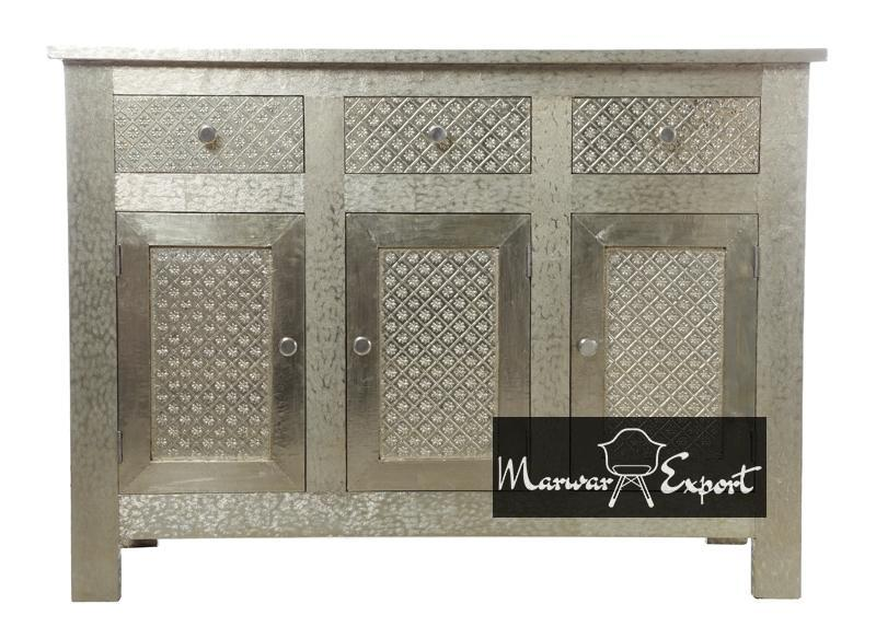 White Metal Embossed Sideboard