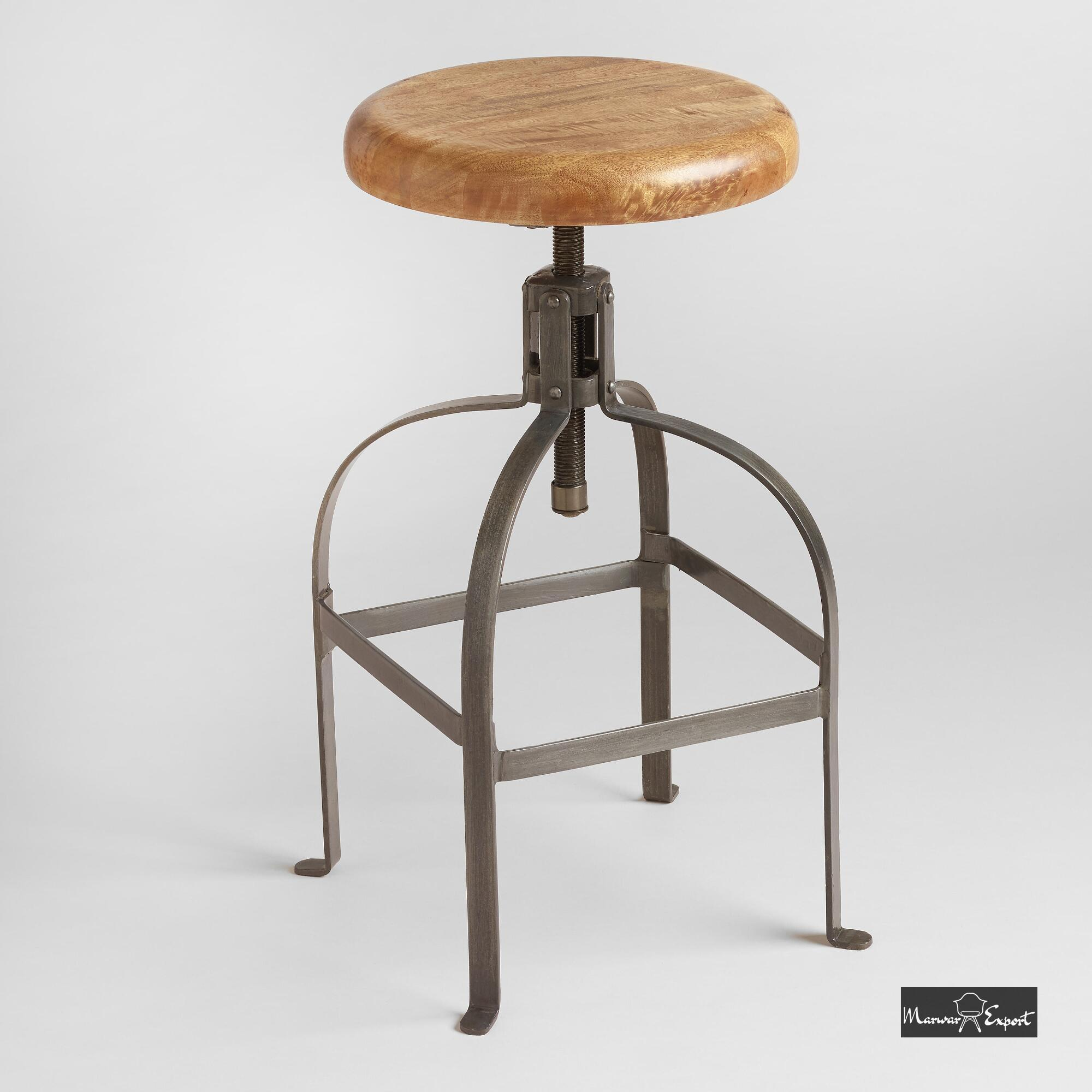 Industrial Adjustable Round Wood Set Bar Stool