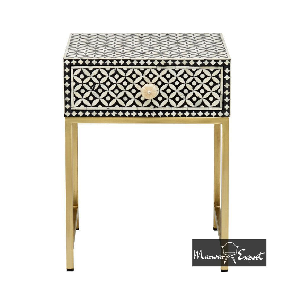 Stunning Bone Inlay Bedside Table Black Geometric