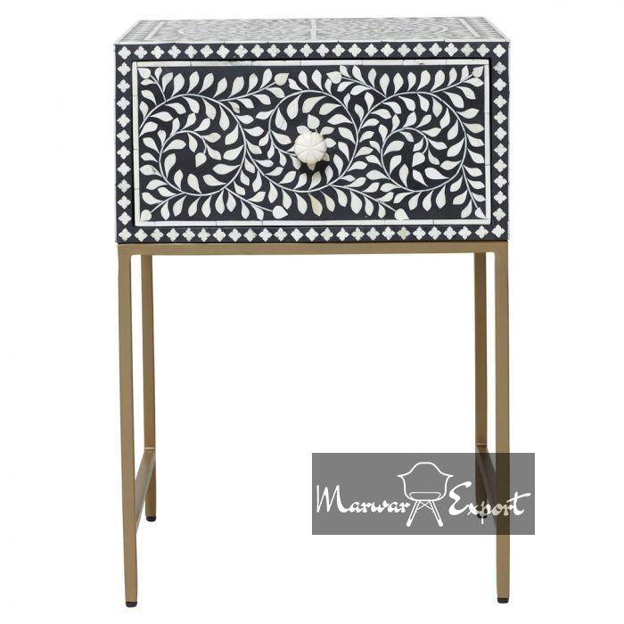 Stunning Bone Inlay Bedside Table